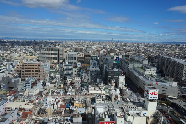 堺市役所の展望台からの景色